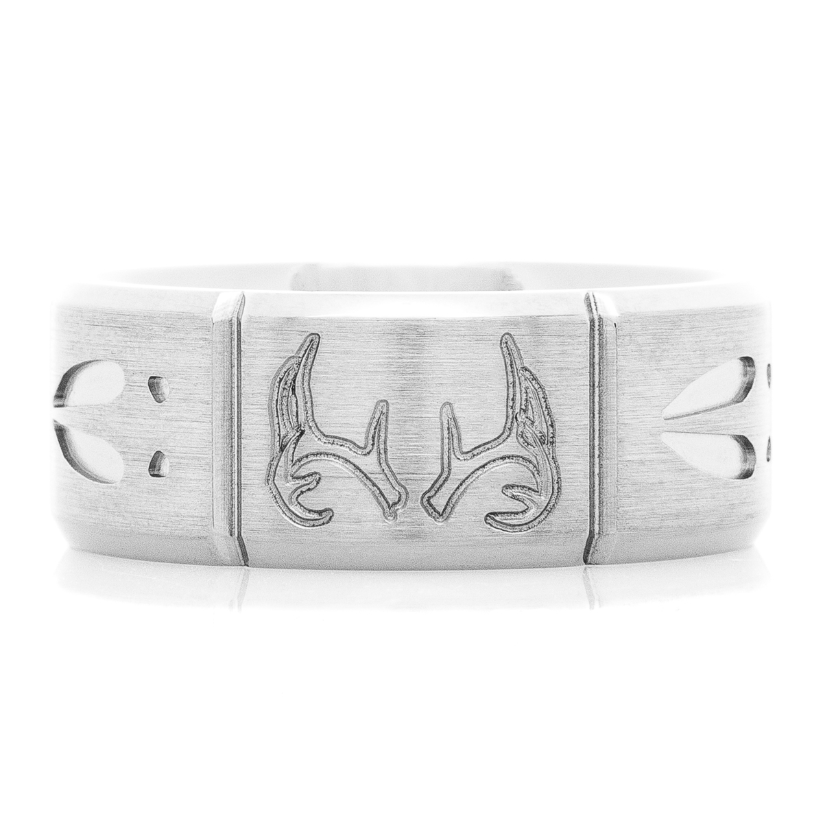 Men's Titanium Segmented Deer Antler and Tracks Ring