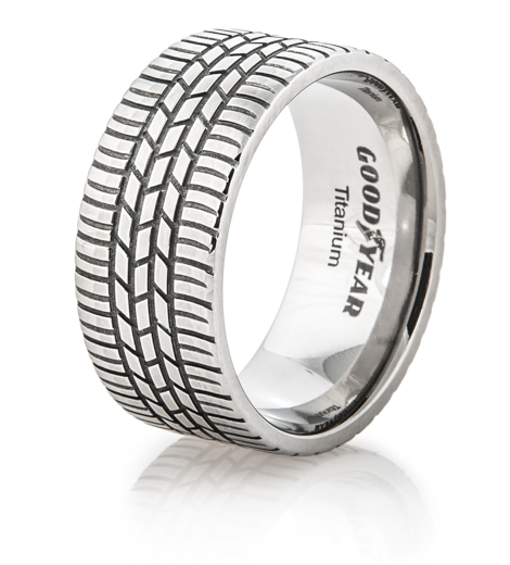 Men's Titanium Goodyear Integrity Tire Tread Ring