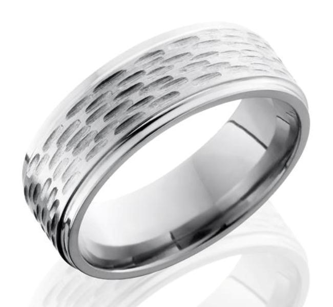 Men's Deep Woods Rustic Titanium Ring with Flat profile
