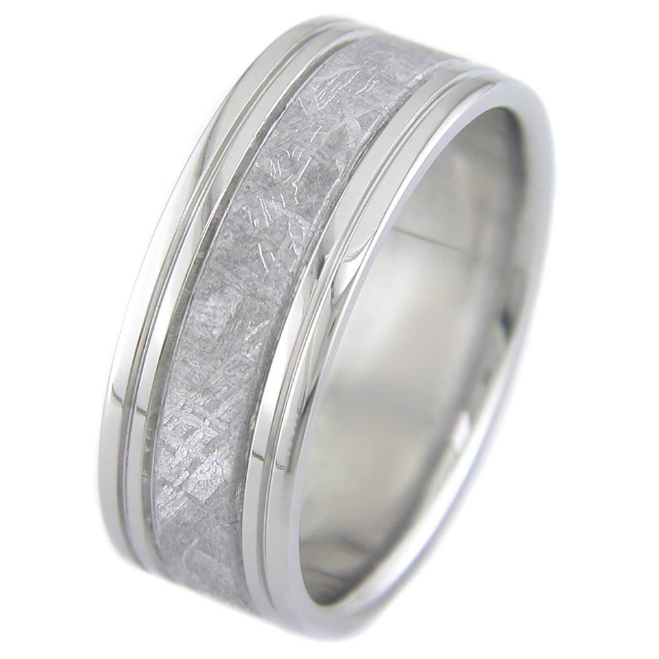 Men's Four Groove Titanium Gibeon Meteorite Ring