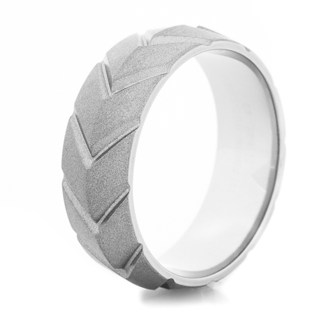 Men's Gunmetal Titanium Chevron Wedding Ring