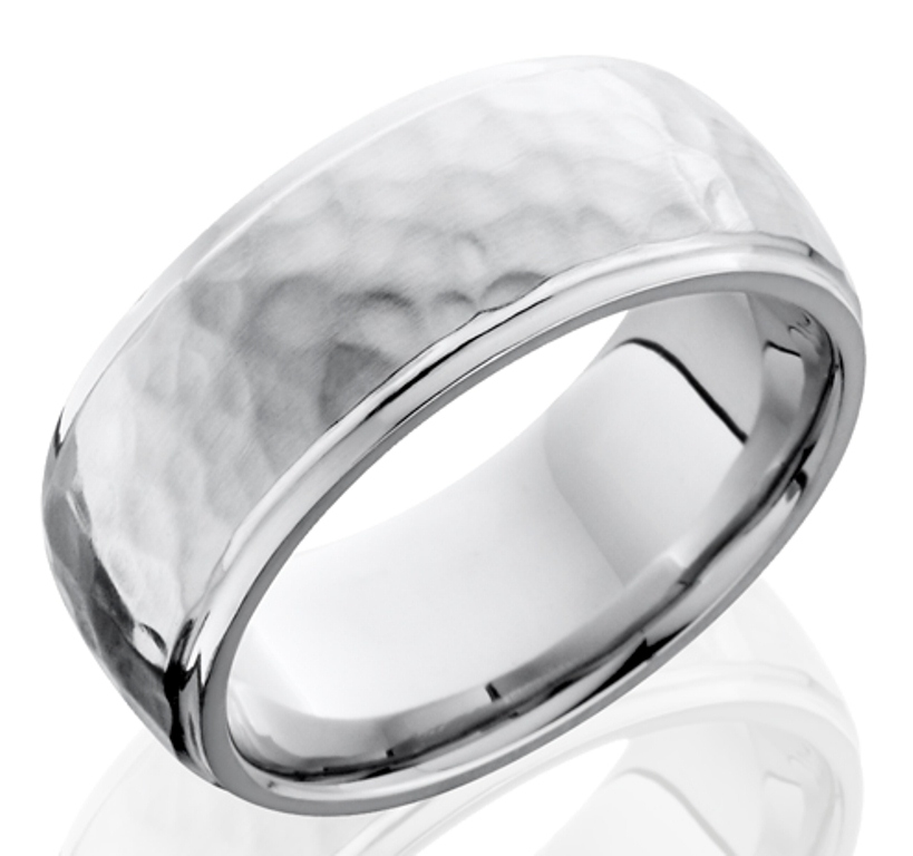 Men's Polished Edge Hammered Cobalt Chrome Ring