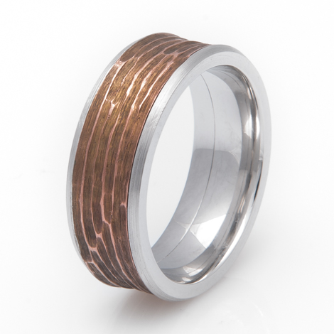 Cobalt and Copper Band Ring with Acid Tree Bark Finish