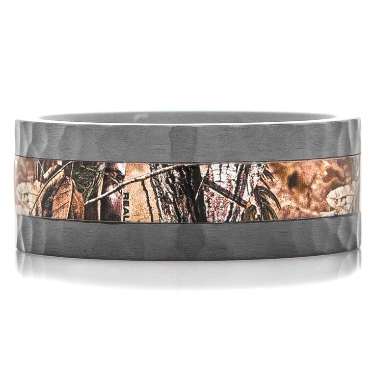 Men's Hammered Black Zirconium Camouflage Ring