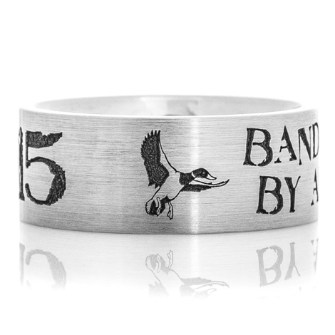 Men's Laser-Carved Titanium Rustic Flying Duck Band Ring