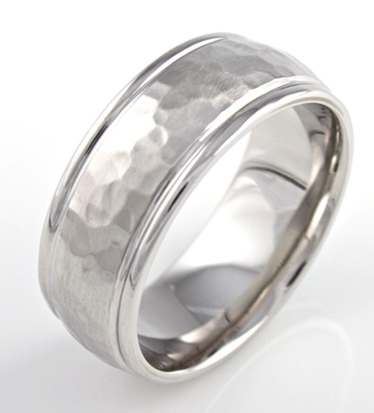 Men's Dome Profile Hammered Cobalt Ring