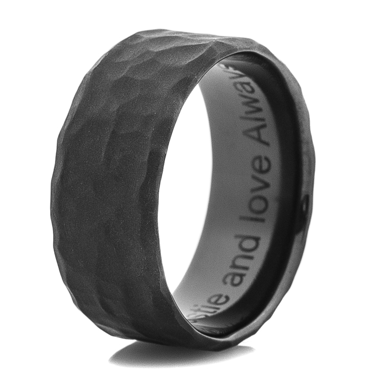 Men's Rock Hammered Flat Black Wedding Band