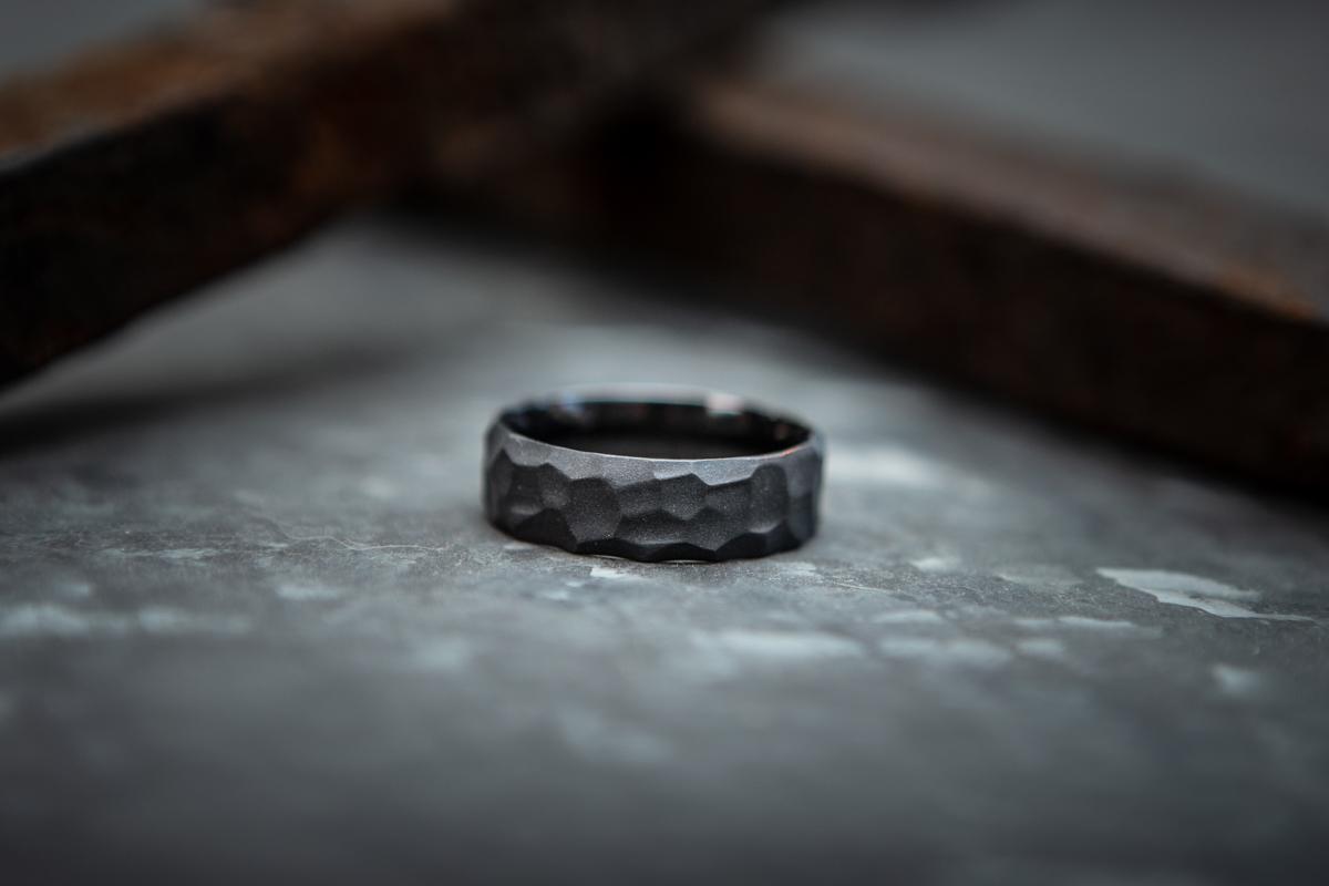 Men's Rock Hammered Charcoal Gray Wedding Band