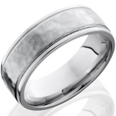 Men's Polished Edge Hammered Cobalt Ring with Dual Milled Grooves