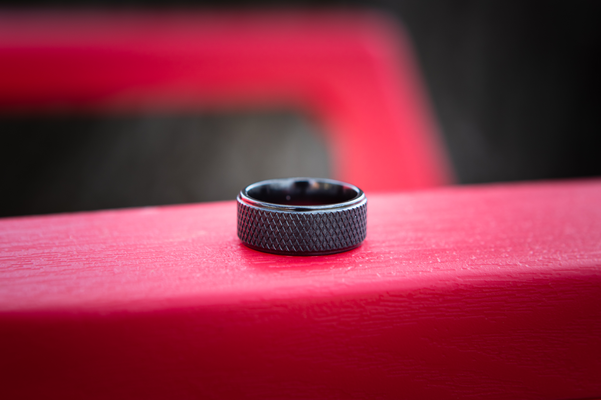 Men's Black Zirconium Hockey Puck Ring