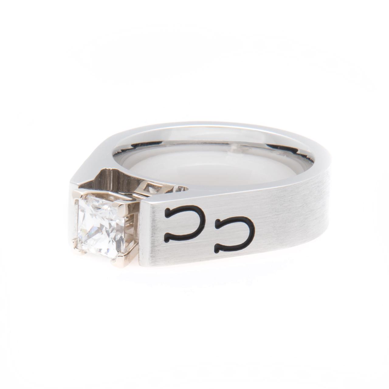 Women's Cobalt Chrome Horseshoe Engagement Ring