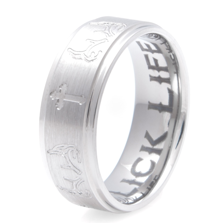 Men's Titanium Carved Antler and Cross Ring