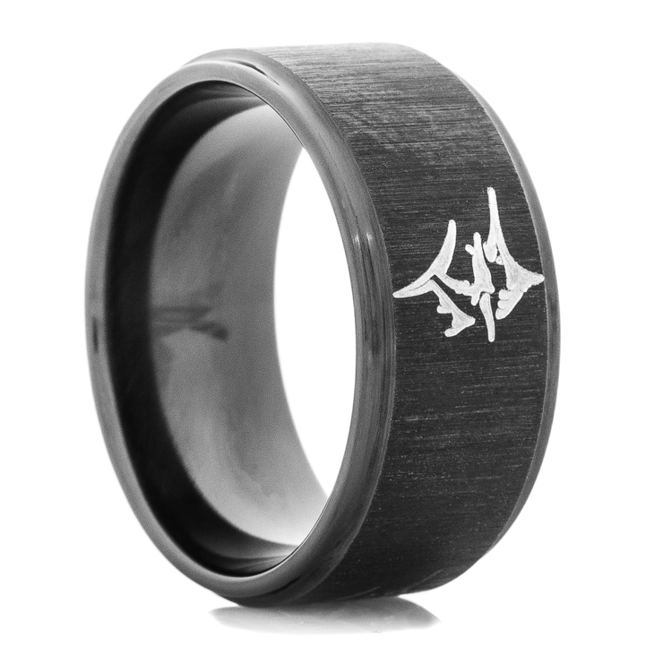 Men's Black Marlin Wedding Ring