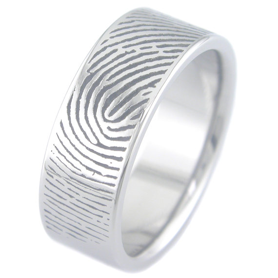 Men's Titanium Fingerprint Wedding Ring