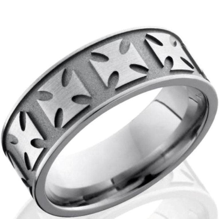 Men's Titanium Maltese Cross Ring