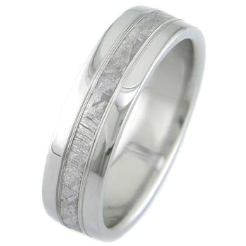 Men's Titanium Accent Gibeon Meteorite Ring