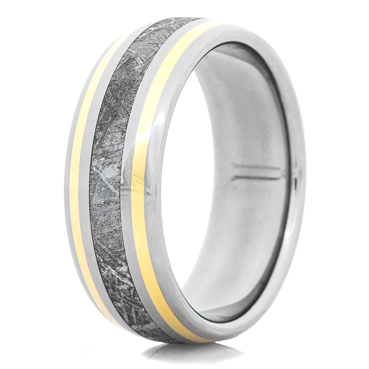 Men's Titanium Gibeon Meteorite Ring with Twin 18K Gold Accents