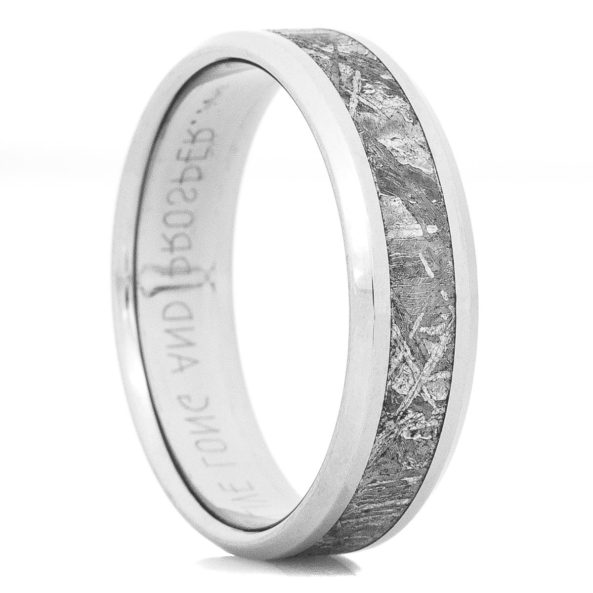 Men's Beveled Edge Titanium Gibeon Meteorite Ring