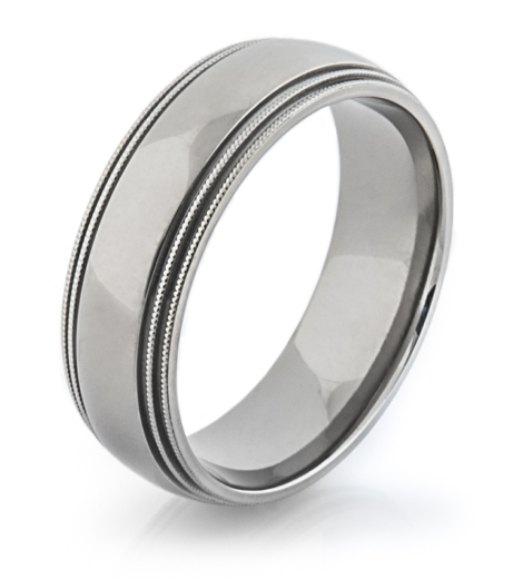 Men's Milled Edge Titanium Ring