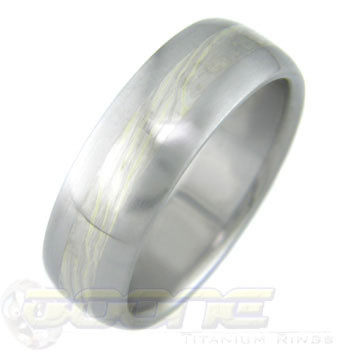Green Gold and Silver Mokume Ring