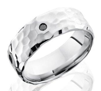 Men's Rock Hammered Cobalt Black Diamond Ring