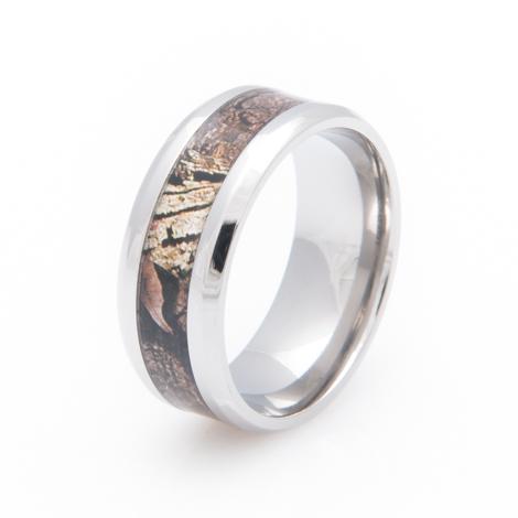 Mens' Titanium Mossy Oak Infinity Camo Ring