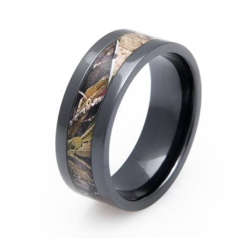 Men's Black Zirconium Mossy Oak Obsession Camo Ring