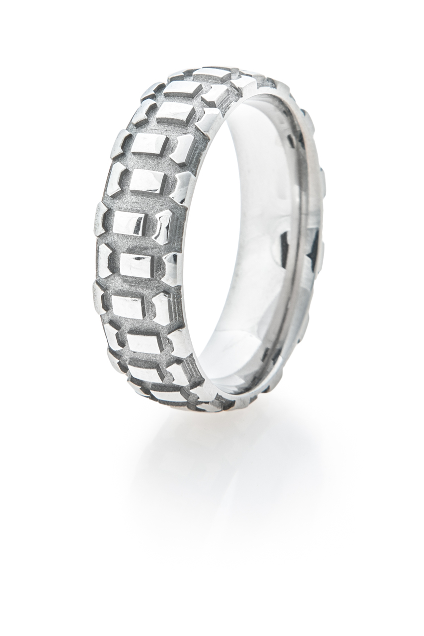 Men's Titanium Motorcycle Tread Ring