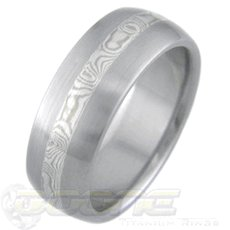 White Gold and Silver Mokume Gane Ring