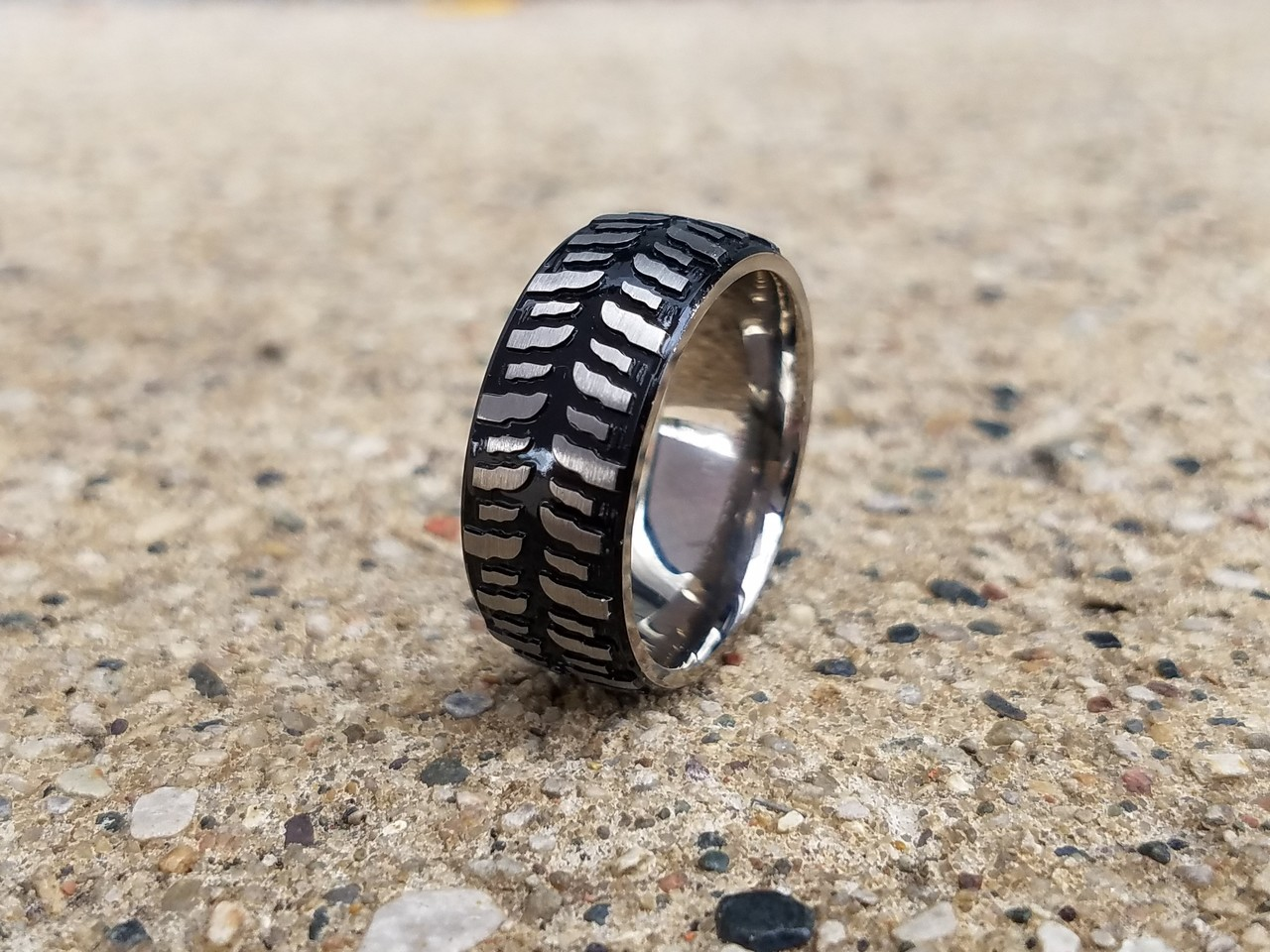 Men's Black Titanium Mud Bogger Ring