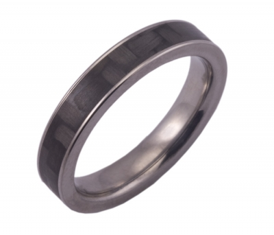 Narrow Titanium and Carbon Fiber Ring