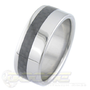 Men's Titanium Offset Carbon Fiber Inlay Ring