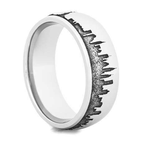Men's Cobalt Chrome New York City Skyline Ring