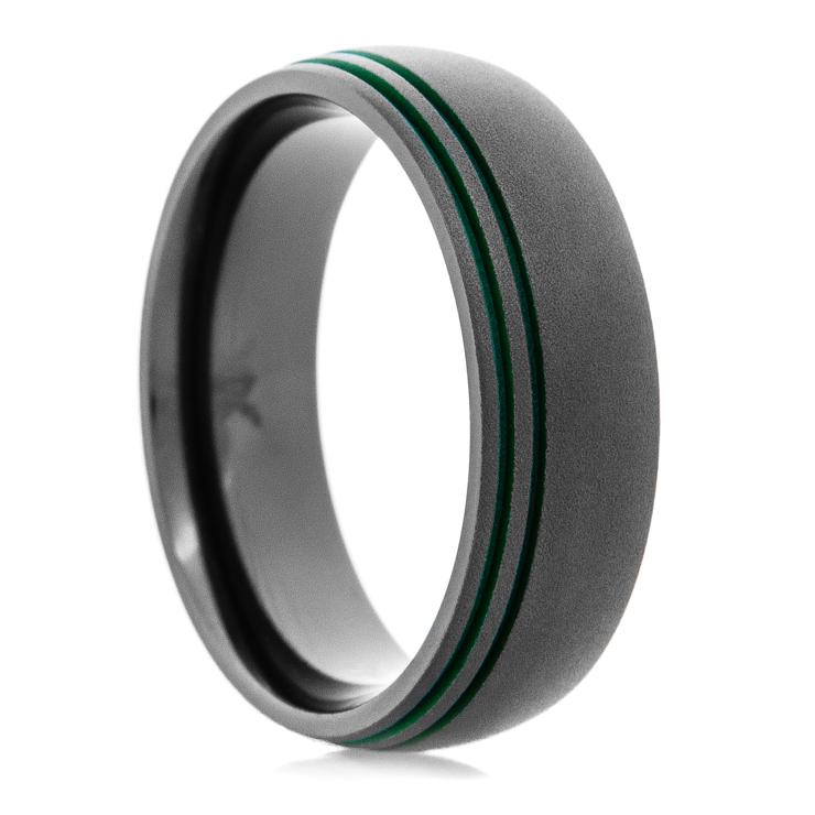 Men's Black Zirconium Offset Dark Green Groove Wedding Ring with Dome Profile