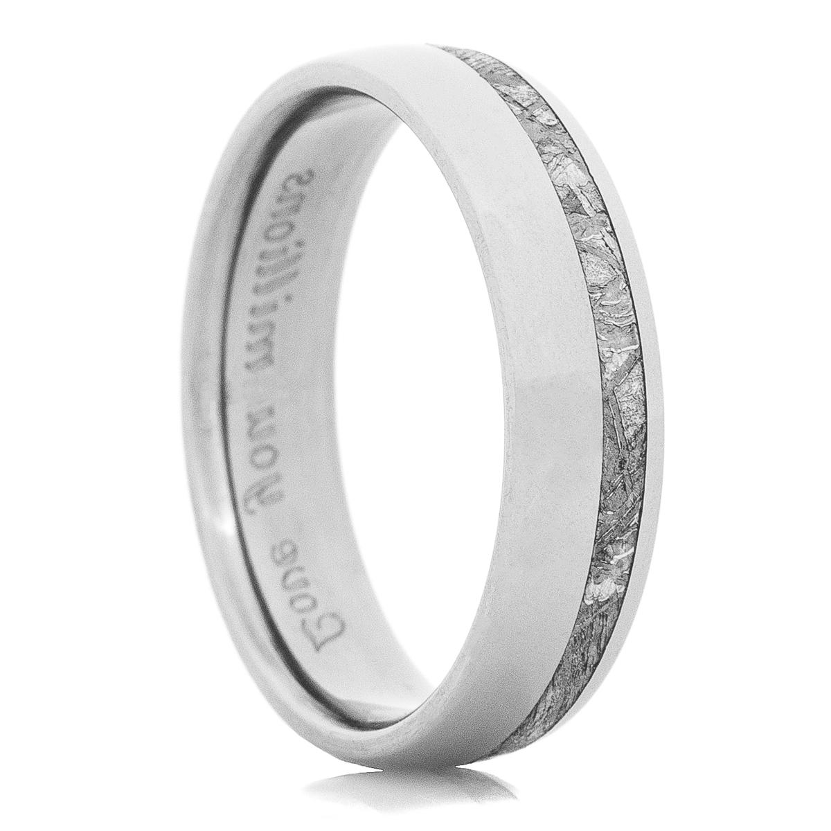 Men's Titanium Offset Gibeon Meteorite Ring