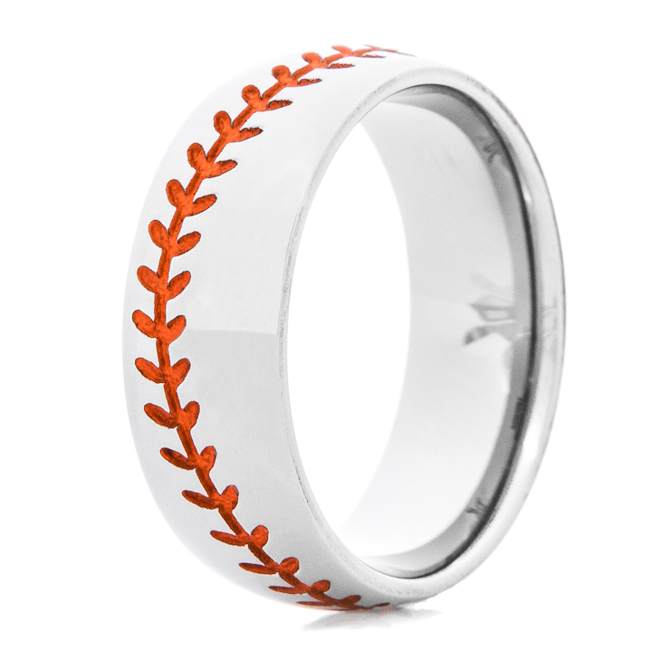 Men's Titanium Baseball Wedding Ring with Orange Stitching