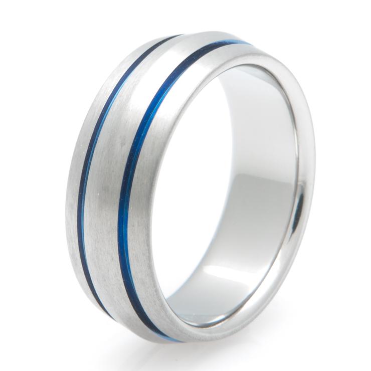 Peaked Titanium with Inlaid Blue Ring