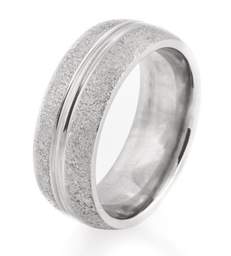 Railed Center Arctic Titanium Wedding Ring