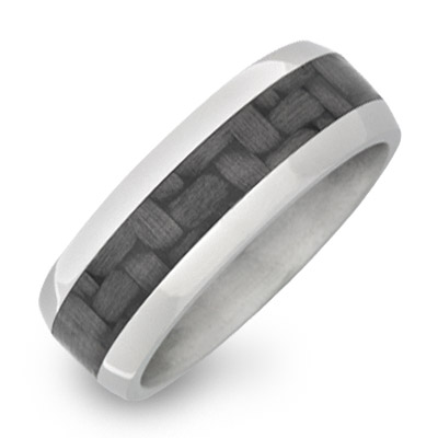 Men's Titanium Dome Ring with Carbon Fiber Inlay
