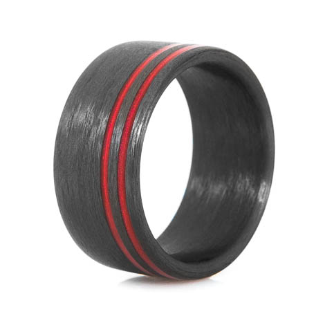 Offset Red Line Carbon Fiber Ring