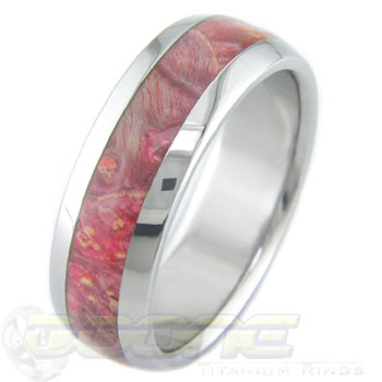 Men's Titanium and Box Elder Burl Wood Ring with Red and Black
