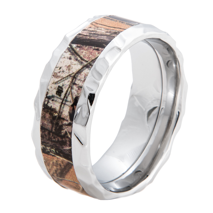 Men's Rock Hammered Cobalt Chrome Camo Ring
