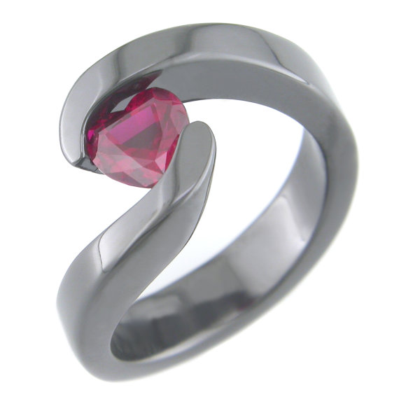 Women's Flowing Black Zirconium Ruby Colored Stone Heart Ring