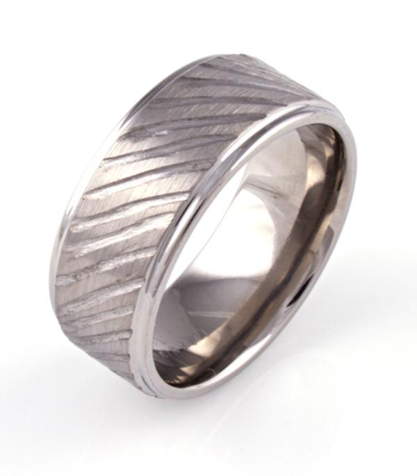 Men's Titanium Deep Carved Rustic Ring