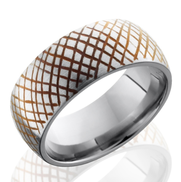 Men's Titanium Anodized Dome Rustic Ring