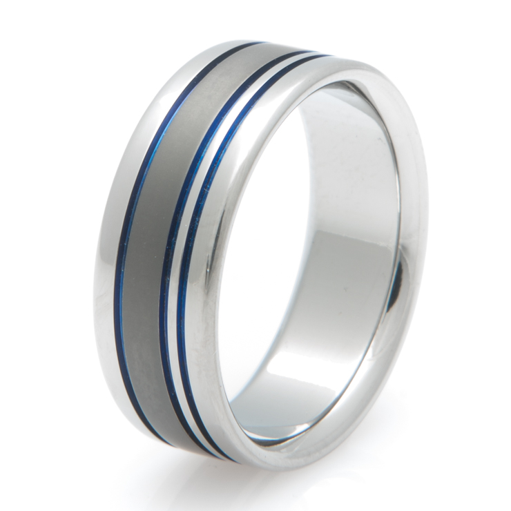 Titanium Ring with Blue Grooves and Sable Finish