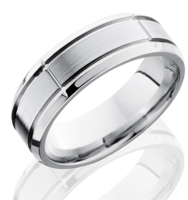 Men's Segmented Cobalt Ring with Dual Grooves