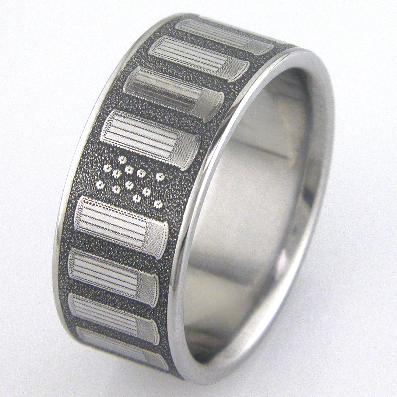 Men's Titanium Shotgun Shell Ring