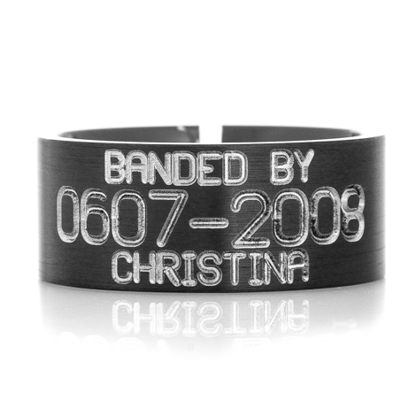 Men's Black Zirconium Split Back Duck Band Ring