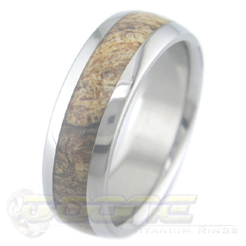 Men's Dome Profile Titanium and Spalted Maple Burl Ring